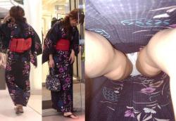 【浴衣逆さ撮り盗撮エロ画像】夏祭り・花火大会で浴衣女子のパンツを激写…食い込みがエッチで凝視した!の画像