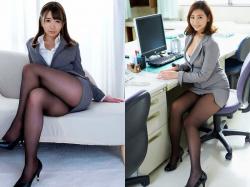 デスクワークで働くOLお姉さんのタイトスカート黒パンスト(足/太股)画像(30枚)の画像
