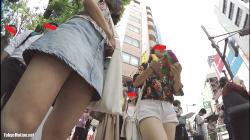 【パンチラ盗撮】【♡ren♡pantira!】私服JK2人組 デニムミニスカで生足からのピンク色Pの画像